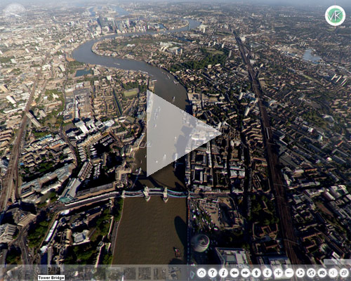 This is an aerial view over Tower Bridge